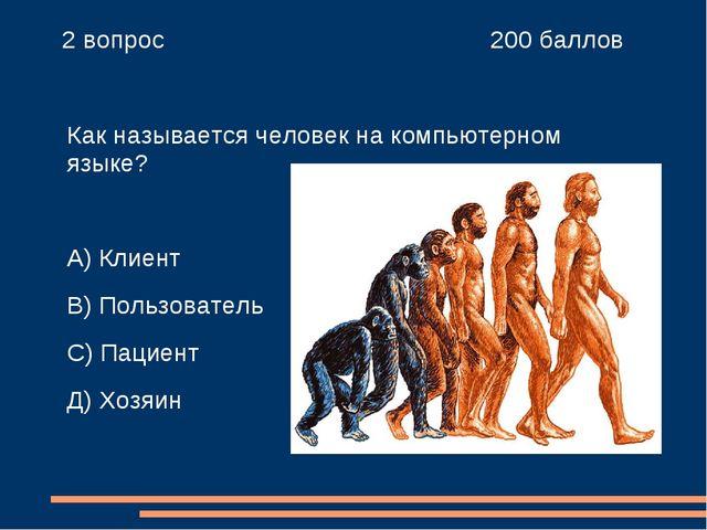 2 вопрос 200 баллов Как называется человек на компьютерном языке? А) Клиен...