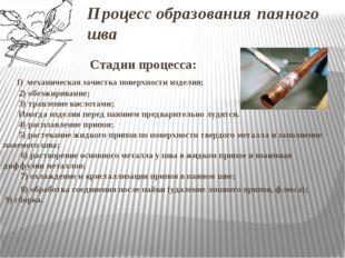 Процесс образования паяного шва Стадии процесса: 1) механическая зачистка пов