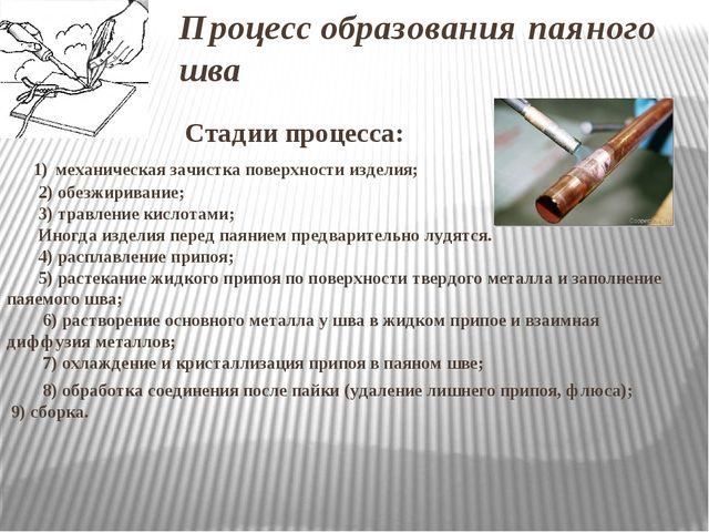 Процесс образования паяного шва Стадии процесса: 1) механическая зачистка пов...