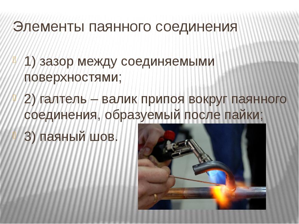 Элементы паянного соединения 1) зазор между соединяемыми поверхностями; 2) га...
