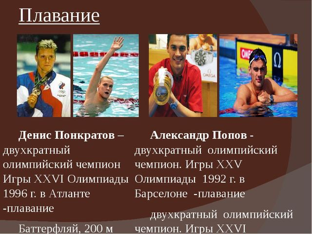 Плавание Денис Понкратов – двухкратный олимпийский чемпион ИгрыXXVI Олимпиа...
