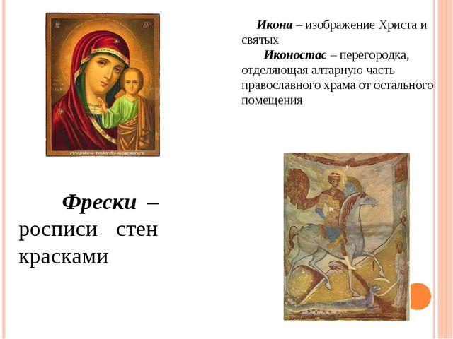 Икона – изображение Христа и святых Иконостас – перегородка, отделяющая алта...