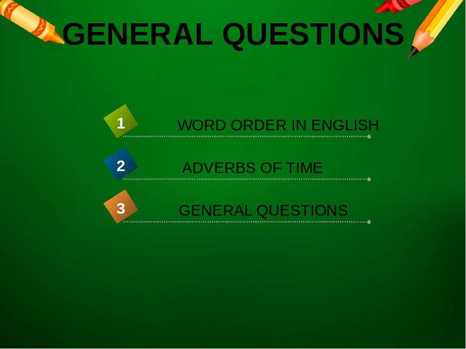 GENERAL QUESTIONS WORD ORDER IN ENGLISH 1 ADVERBS OF TIME 2 GENERAL QUESTIONS 3
