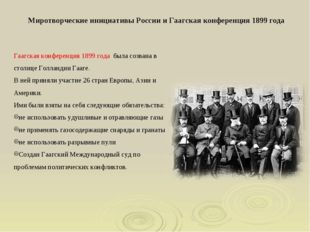 Гаагская конференция 1899 года была созвана в столице Голландии Гааге. В ней