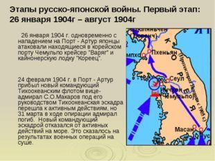 Этапы русско-японской войны. Первый этап: 26 января 1904г – август 1904г 26 я