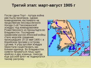 Третий этап: март-август 1905 г После сдачи Порт - Артура война уже была про