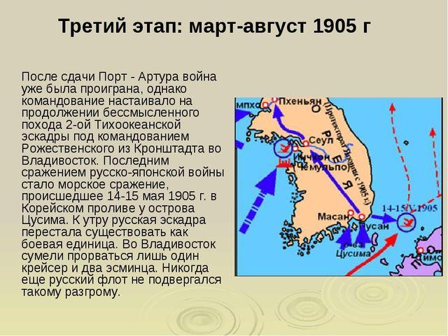 Третий этап: март-август 1905 г После сдачи Порт - Артура война уже была про...