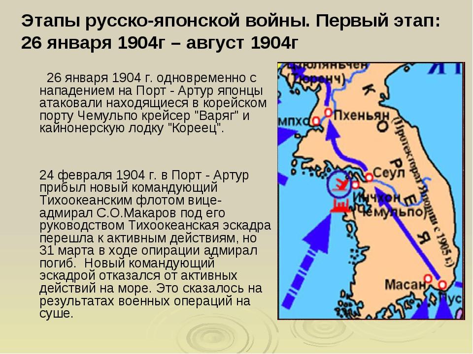Этапы русско-японской войны. Первый этап: 26 января 1904г – август 1904г 26 я...