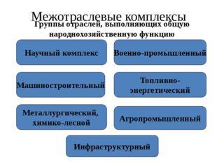 Межотраслевые комплексы Группы отраслей, выполняющих общую народнохозяйственн