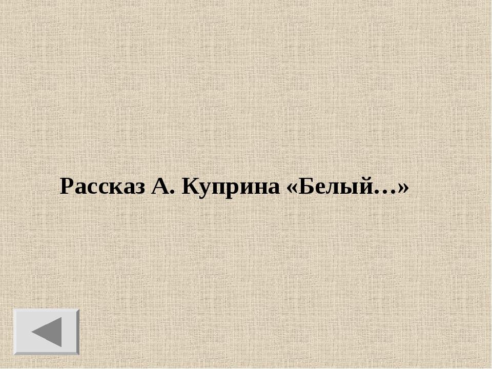 Рассказ А. Куприна «Белый…»