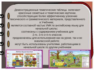 Демонстрационные тематические таблицы включают красочные сюжетные и тематиче
