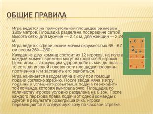Игра ведётся на прямоугольной площадке размером 18х9 метров. Площадка разделе