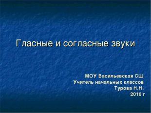 Гласные и согласные звуки МОУ Васильевская СШ Учитель начальных классов Туров