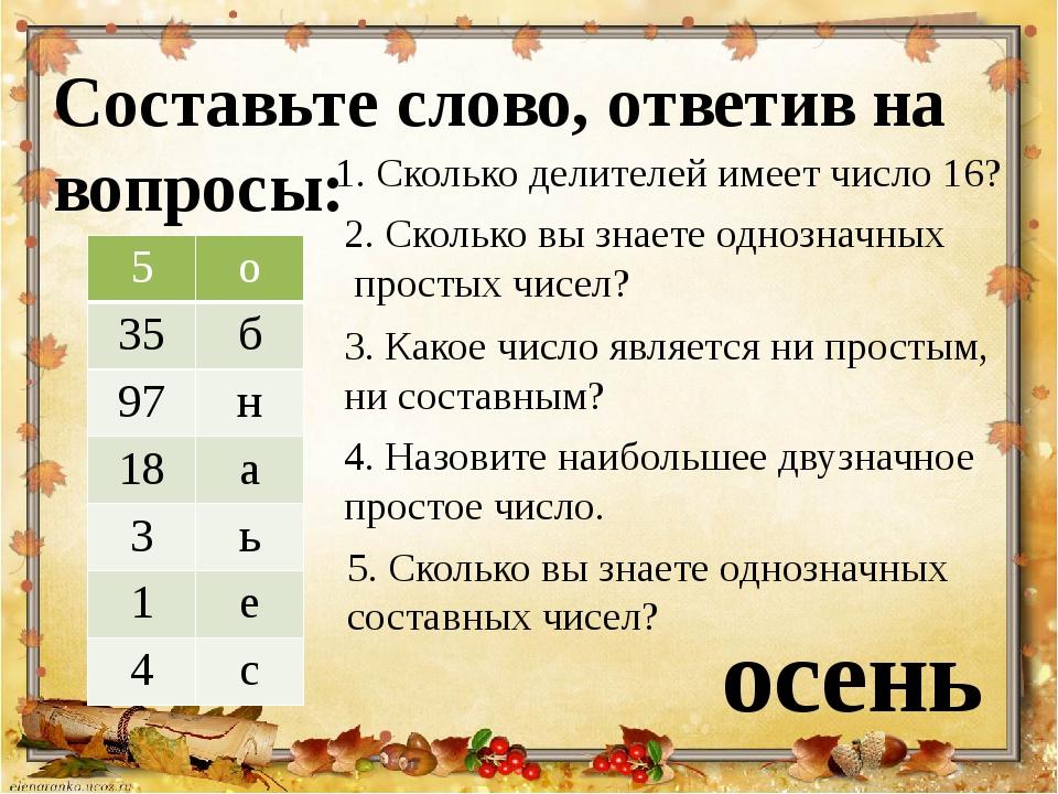 Составьте слово, ответив на вопросы: 1. Сколько делителей имеет число 16? 2....