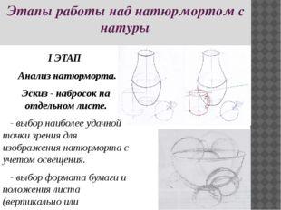 Этапы работы над натюрмортом с натуры I ЭТАП Анализ натюрморта. Эскиз - набро