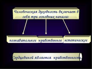 Человеческая духовность включает в себя три основных начала: познавательное н