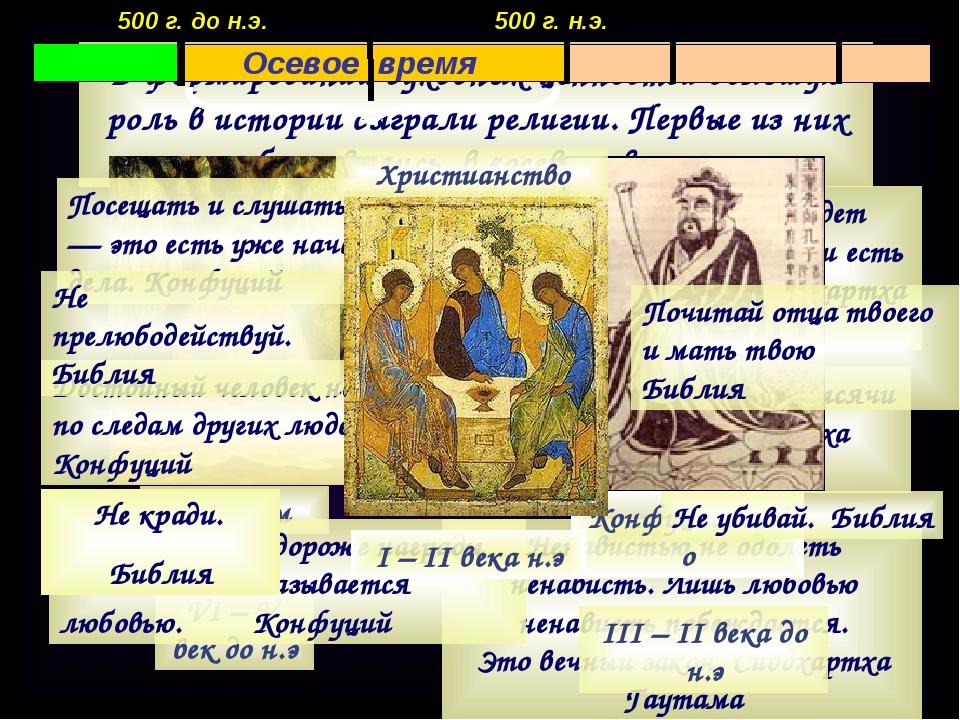 В формировании духовных ценностей большую роль в истории сыграли религии. Пер...