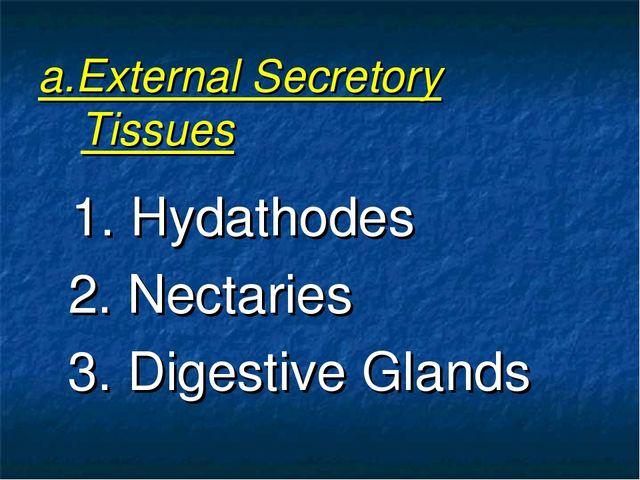 a.External Secretory Tissues 1. Hydathodes 2. Nectaries 3. Digestive Glands