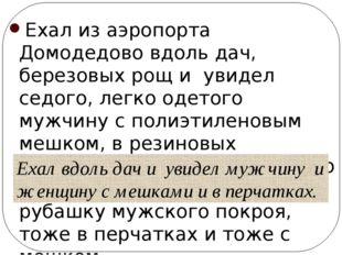 Ехал из аэропорта Домодедово вдоль дач, березовых рощ и увидел седого, легко