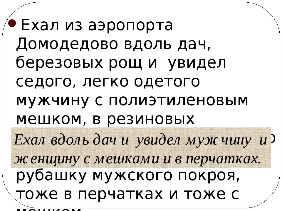 Ехал из аэропорта Домодедово вдоль дач, березовых рощ и увидел седого, легко...