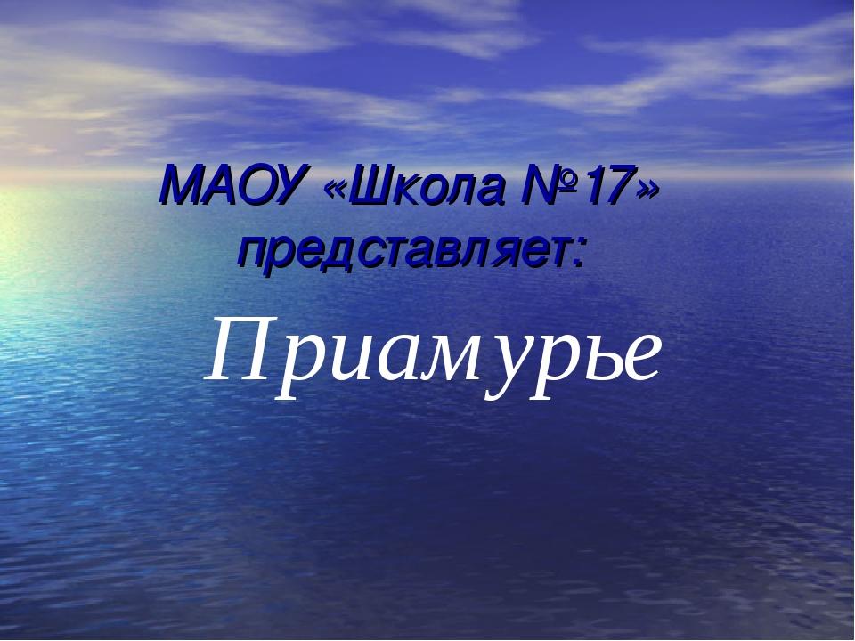 МАОУ «Школа №17» представляет: Приамурье
