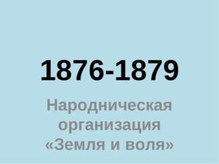 1876-1879 Народническая организация «Земля и воля»