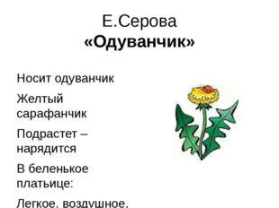 Е.Серова «Одуванчик» Носит одуванчик Желтый сарафанчик Подрастет – нарядится