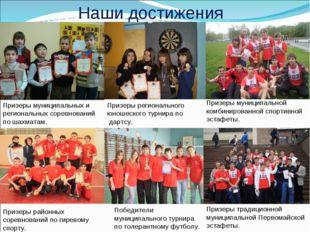 Наши достижения Призеры муниципальных и региональных соревнований по шахматам