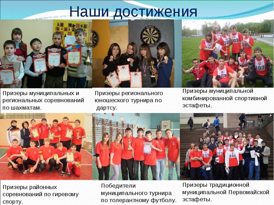 Наши достижения Призеры муниципальных и региональных соревнований по шахматам...