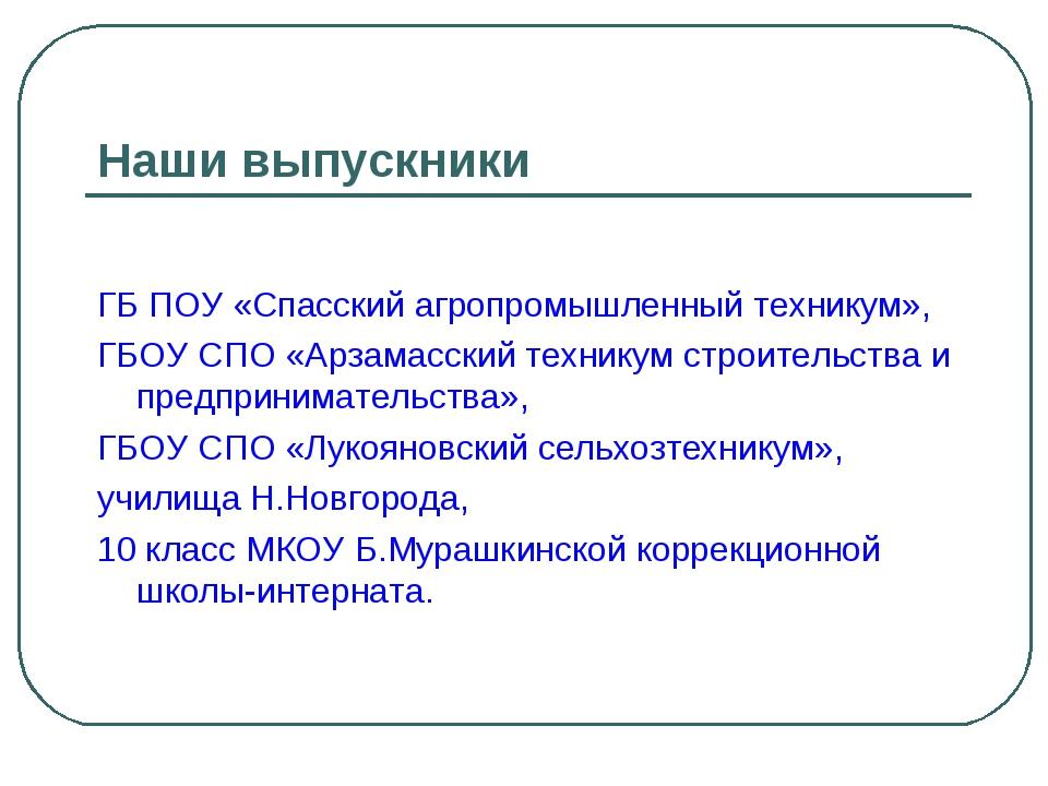 Наши выпускники ГБ ПОУ «Спасский агропромышленный техникум», ГБОУ СПО «Арзама...