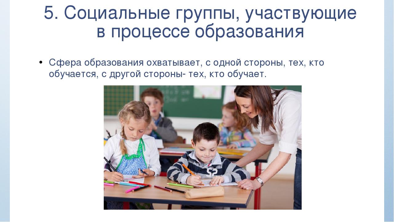5. Социальные группы, участвующие в процессе образования Сфера образования ох...
