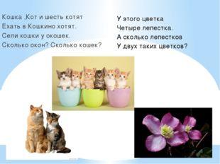 Кошка ,Кот и шесть котят Ехать в Кошкино хотят. Сели кошки у окошек. Сколько