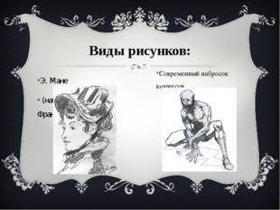 Виды рисунков: Э. Мане (набросок, уголь. Франция XIX в.) Современный набросо