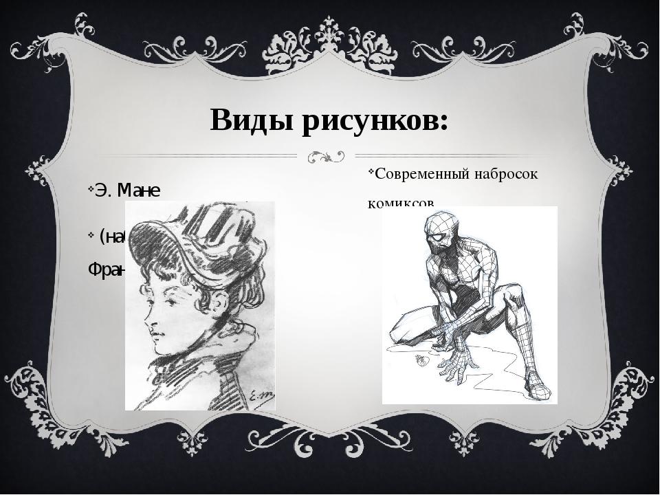 Виды рисунков: Э. Мане (набросок, уголь. Франция XIX в.) Современный набросо...