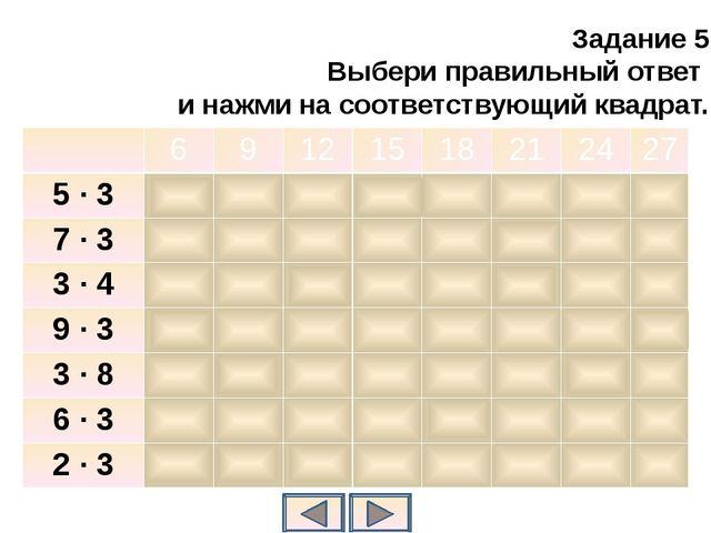 Задание 5 Выбери правильный ответ и нажми на соответствующий квадрат. 6 9 12...