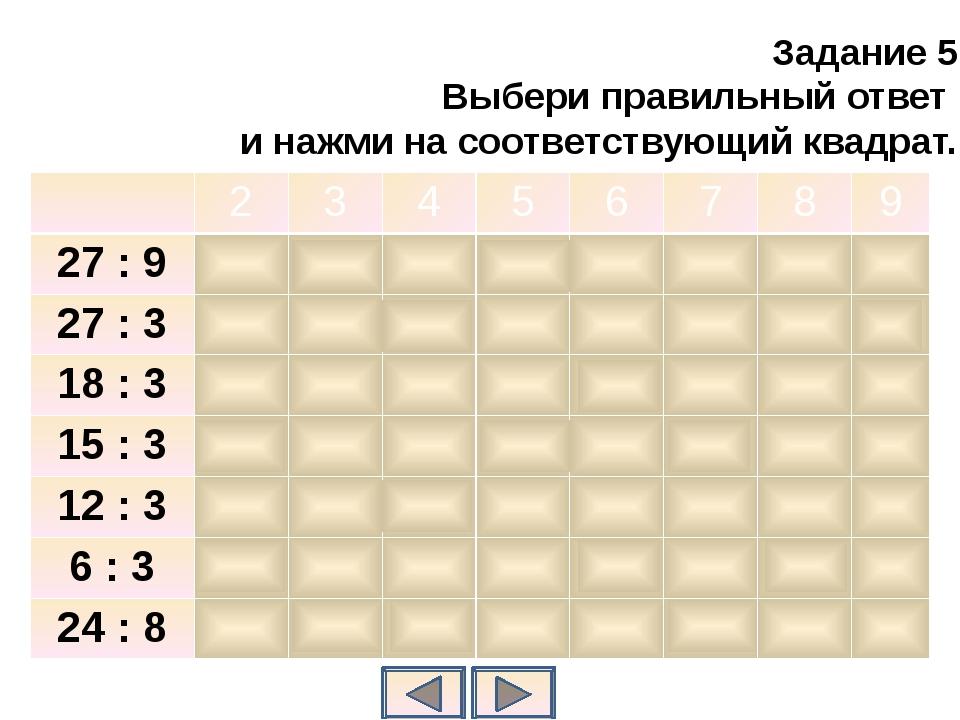 Задание 5 Выбери правильный ответ и нажми на соответствующий квадрат. 2 3 4 5...