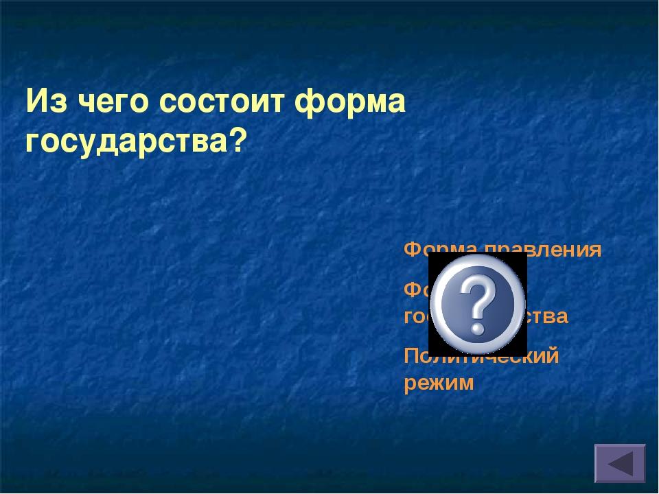 Из чего состоит форма государства? Форма правления Форма гос.устройства Полит...