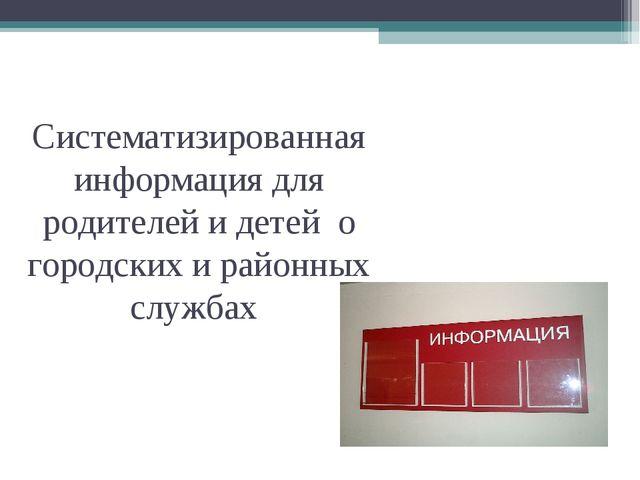 Систематизированная информация для родителей и детей о городских и районных с...