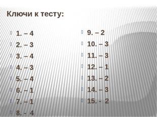 Ключи к тесту: 1. – 4 2. – 3 3. – 4 4. – 3 5. – 4 6. – 1 7. – 1 8. - 4 9. – 2