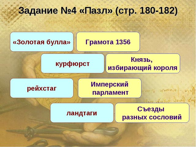 Задание №4 «Пазл» (стр. 180-182) «Золотая булла» курфюрст Князь, избирающий к...