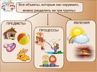 Все объекты, которые нас окружают, можно разделить на три группы: ПРЕДМЕТЫ ПР