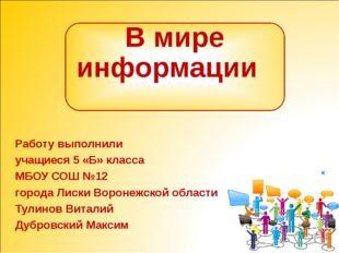 В мире информации Работу выполнили учащиеся 5 «Б» класса МБОУ СОШ №12 города