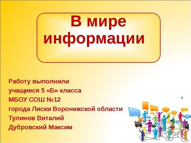 В мире информации Работу выполнили учащиеся 5 «Б» класса МБОУ СОШ №12 города...