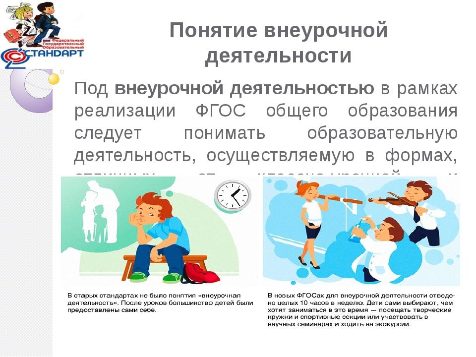 Понятие внеурочной деятельности Под внеурочной деятельностью в рамках реализа...