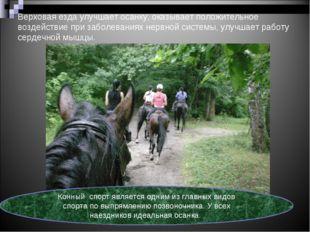 Верховая езда улучшает осанку, оказывает положительное воздействие при заболе