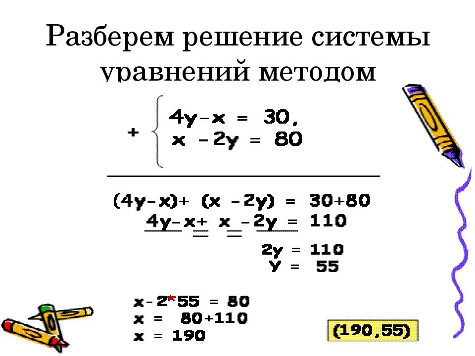 Разберем решение системы уравнений методом сложения