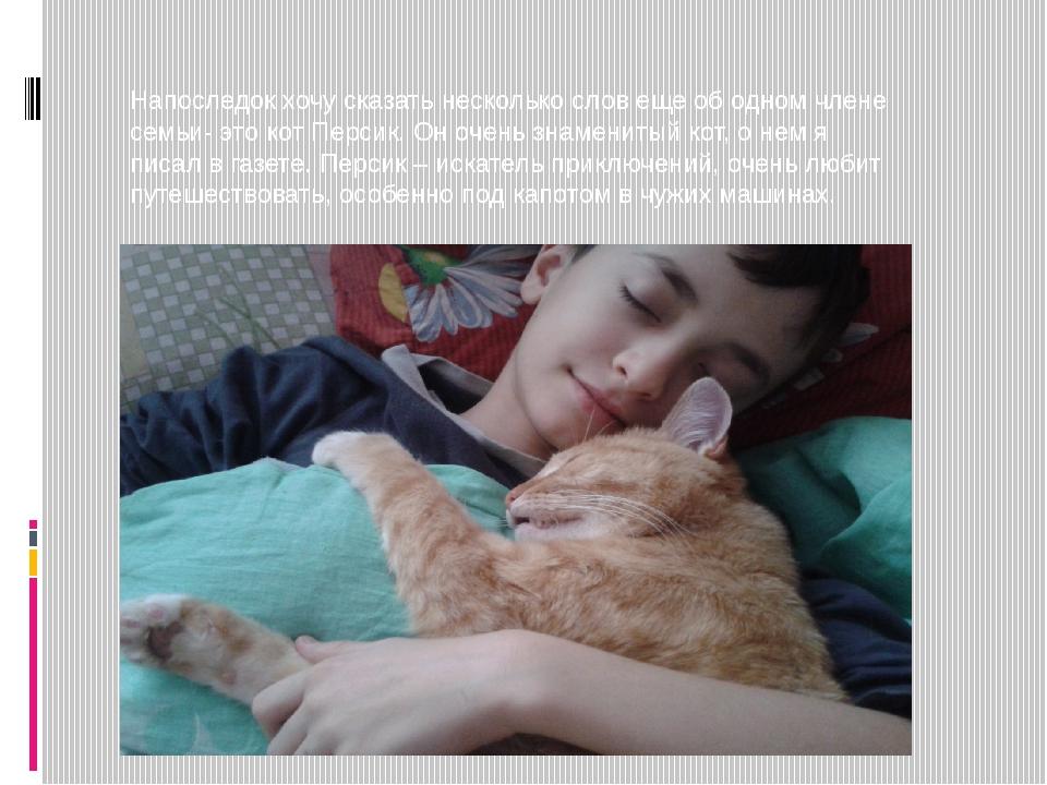 Напоследок хочу сказать несколько слов еще об одном члене семьи- это кот Пе...