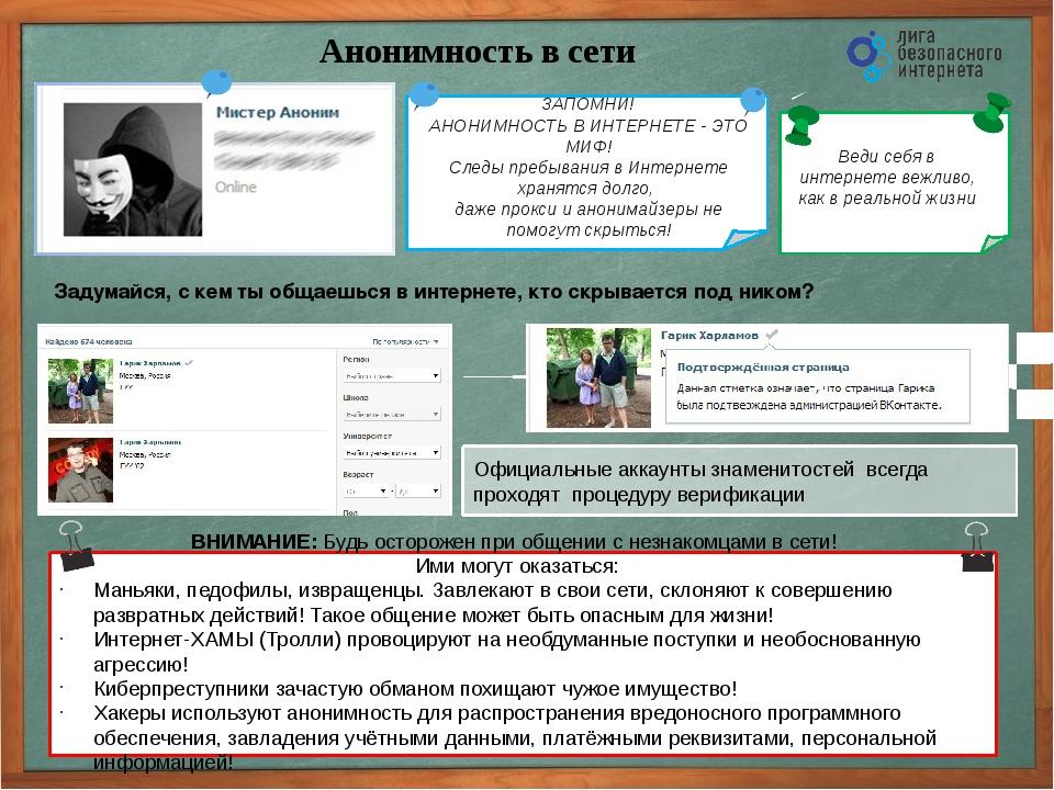 Анонимность в сети Официальные аккаунты знаменитостей всегда проходят процеду...