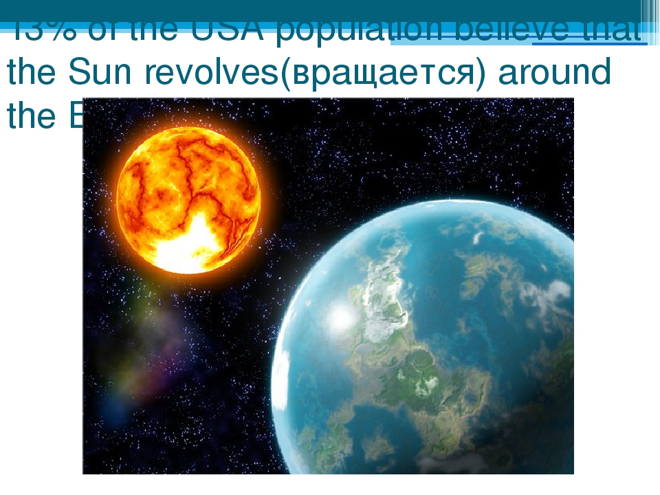 13% of the USA population believe that the Sun revolves(вращается) around the...