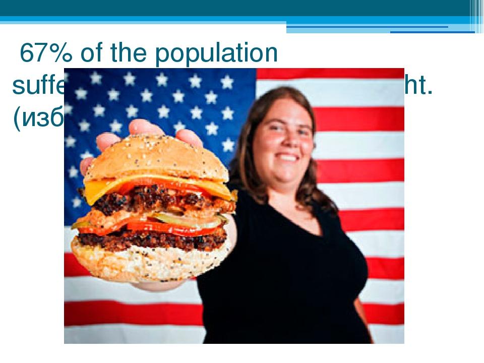 67% of the population suffers(страдает) from overweight.(избыточным весом)